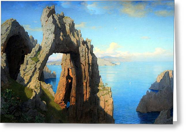 Haseltine's Natural Arch At Capri Greeting Card by Cora Wandel