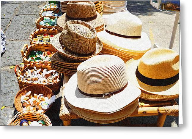 Hat Market Amalfi Coast Italy  Greeting Card by Irina Sztukowski