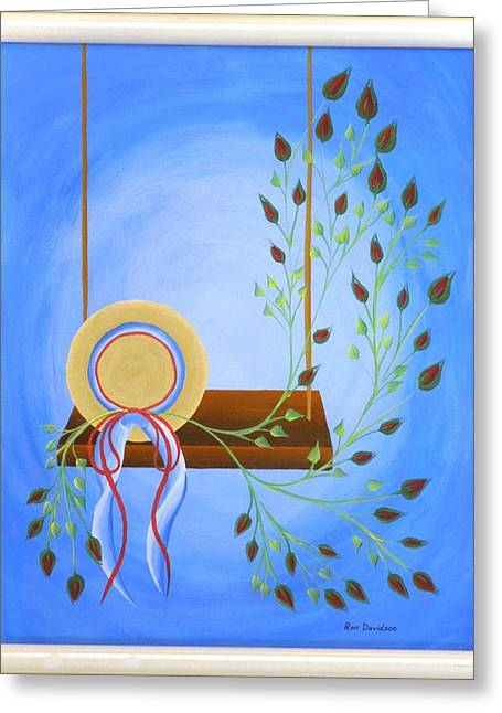 Hat On A Swing Greeting Card by Ron Davidson