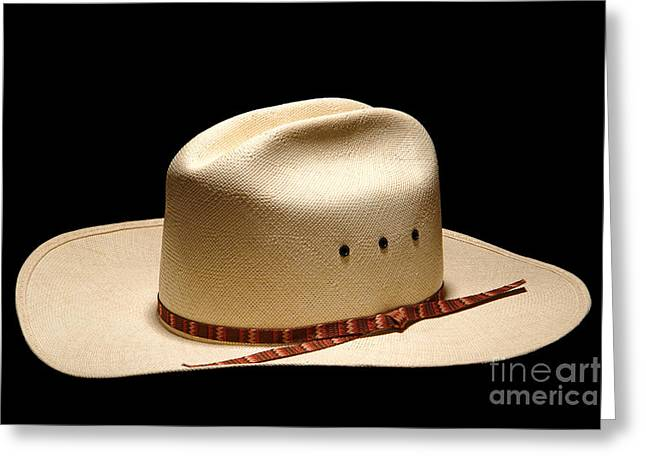 Hat On Black Greeting Card by Olivier Le Queinec