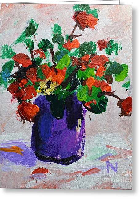 The Lord Is My Light And My Salvation - Psalm 27 1a - Impressionist Floral Still Life Greeting Card by Philip Jones