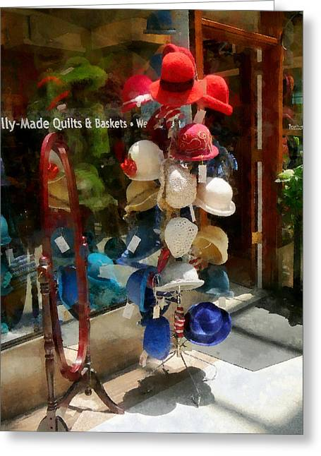Hat Shop Greeting Card by Susan Savad