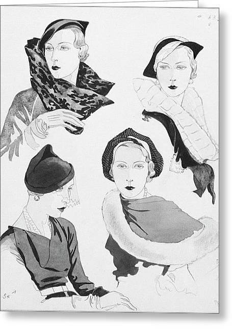 Hat Styles By Agnes Greeting Card by Douglas Pollard