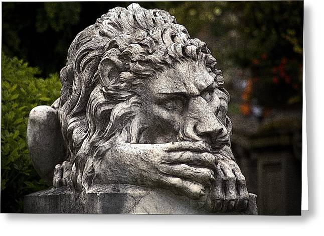 Neptune Stairs Lion Greeting Card by Greg Reed