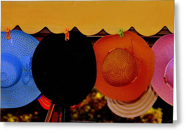 Greeting Card featuring the photograph Hats Of Many Colors by Caroline Stella