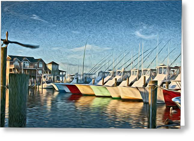 Hatteras Harbor Marina Greeting Card by Williams-Cairns Photography LLC