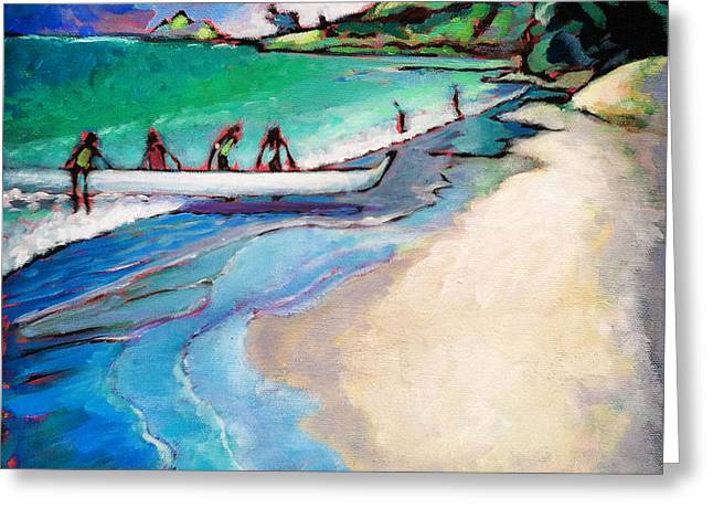 Greeting Card featuring the painting Haul Canoe by Angela Treat Lyon