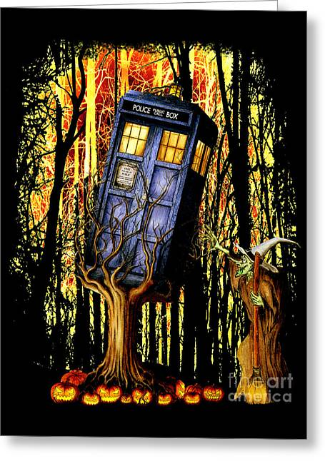 Haunted Blue Phone Box Captured By Witch Greeting Card by Lugu Poerawidjaja