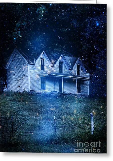Haunted House At Night Greeting Card by Stephanie Frey