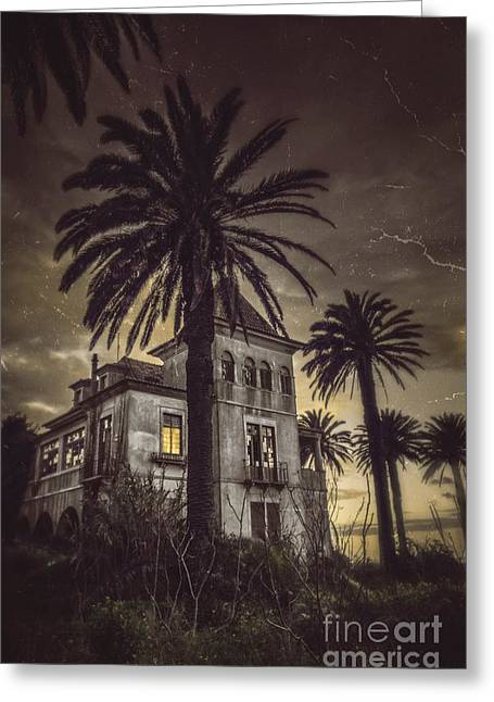 Haunted House Greeting Card by Carlos Caetano