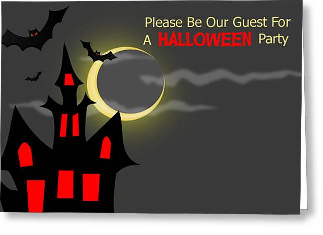 Haunted House Halloween Party Invitation Greeting Card by Vickie Collyer