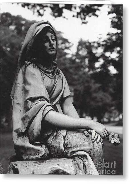Haunting Cemetery Female Mourner Sitting On Grave Greeting Card by Kathy Fornal