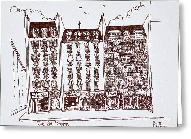 Haussmann Architecture Rue Du Dragon Greeting Card