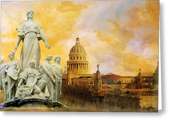 Havana National Capitol Building Greeting Card by Catf