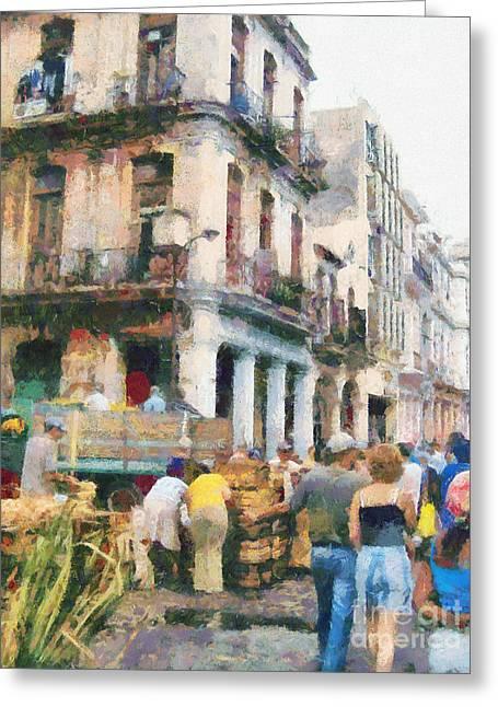 Havana Street Market Scene Paint Greeting Card by Odon Czintos