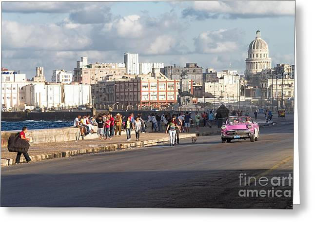 Havanna - Malecon Greeting Card by Juergen Klust