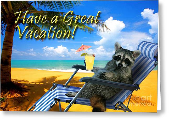 Have A Great Vacation Raccoon Greeting Card By Jeanette K