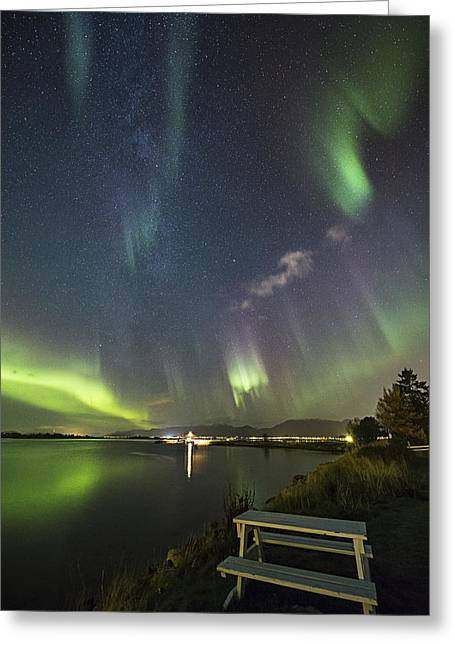 Have A Seat - The Show Is On Greeting Card by Frank Olsen