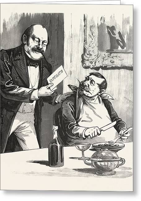 Having Dinner After The Capitulation, Paris, France, 19th Greeting Card