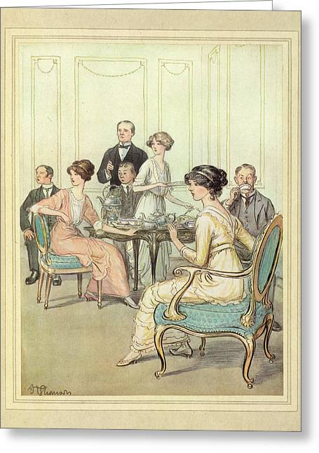 Having Tea Greeting Card by British Library