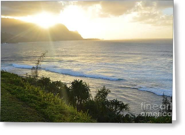 Hawaii - Bali Hai Sunset Greeting Card by Greg Cross