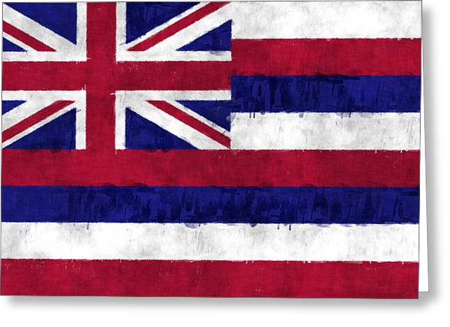 Hawaii Flag Greeting Card by World Art Prints And Designs