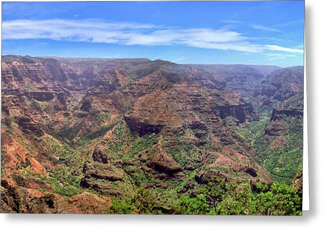 Hawaii Kauai Waimea Canyon Beautiful Panorama Greeting Card by David Zanzinger