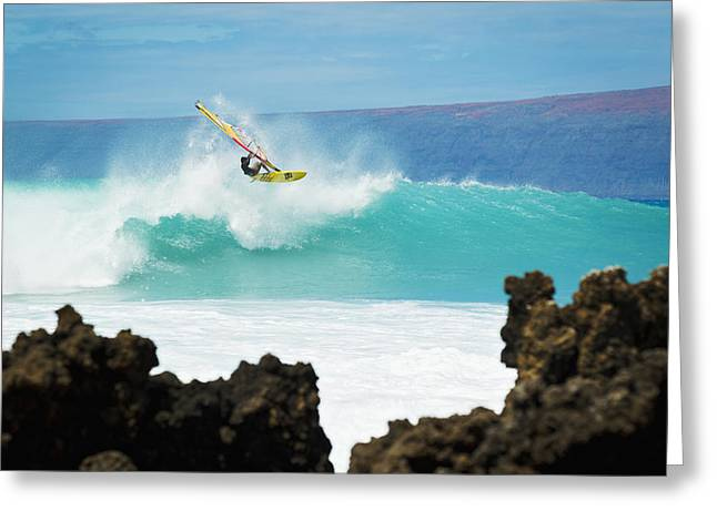 Hawaii, Maui, Laperouse, Professional Windsurfer Kail Lenny Riding A Large Wave At Laperouse Bay. Greeting Card