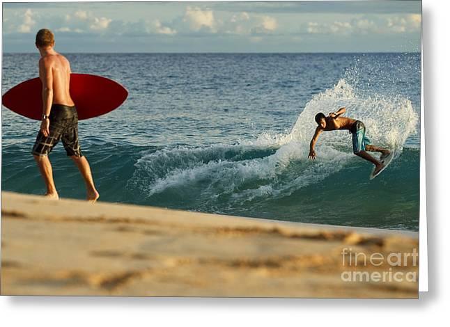 Hawaii, Maui, Makena - Big Beach, Skimboarders Along Shorebreak. Greeting Card