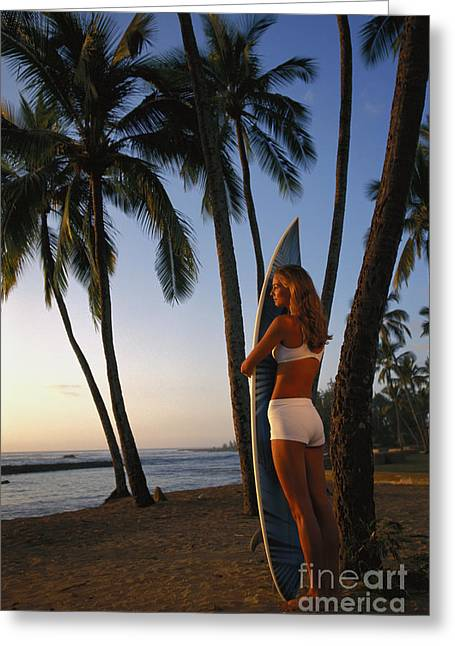 Hawaii, Oahu, North Shore, Full Length View Woman With Surfboard Palms Golden Afternoon Light D1077 Greeting Card by Dana Edmunds