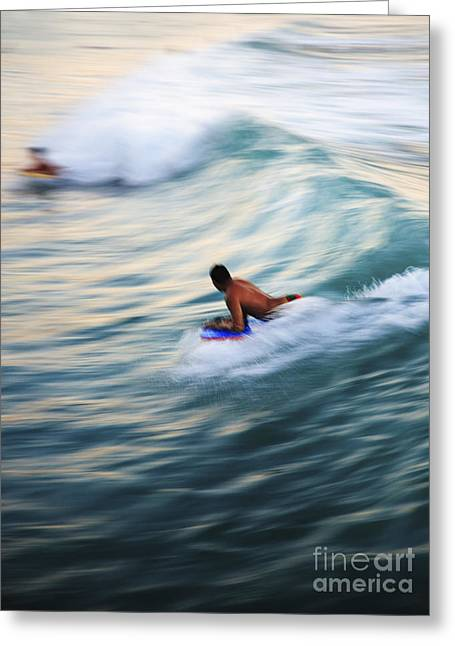 Hawaii, Oahu, Surfer Riding A Wave. Greeting Card by Brandon Tabiolo