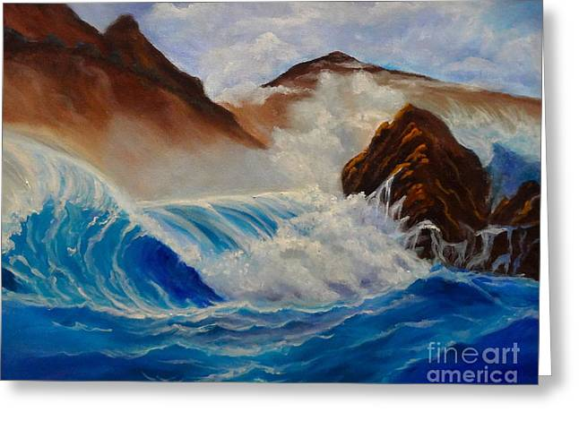 Greeting Card featuring the painting Hawaii On The Rocks by Jenny Lee