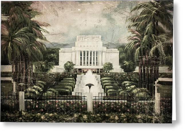 Hawaii Temple Laie Antique Greeting Card