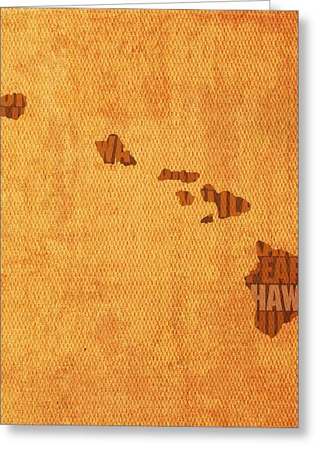 Hawaii Word Art State Map On Canvas Greeting Card