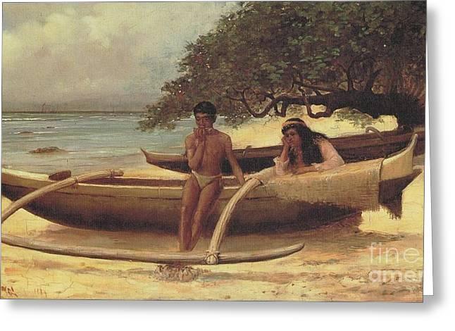 Hawaiian Canoe - Waikki Greeting Card by Pg Reproductions