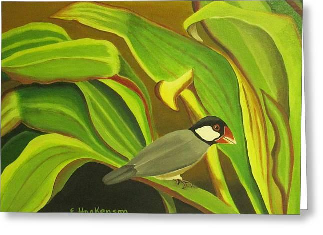 Hawaiian Finch On Tea Leaves Greeting Card by Elaine Haakenson