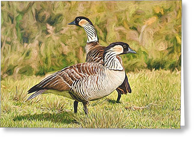 Hawaiian Goose Couple Greeting Card