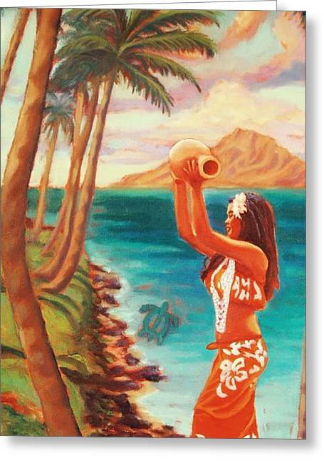 Hawaiian Hula Wahine Greeting Card