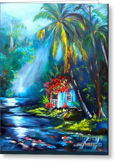 Hawaiian Hut In The Mist Greeting Card
