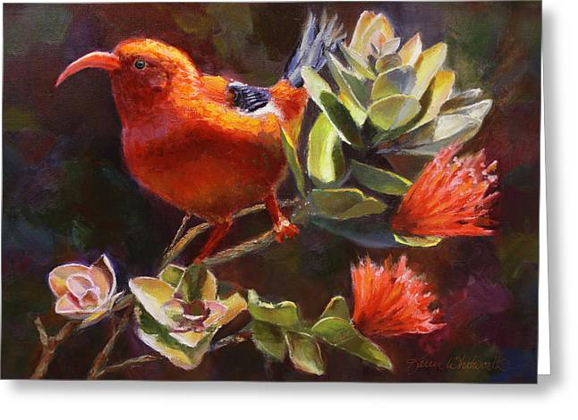 Hawaiian IIwi Bird And Ohia Lehua Flower Greeting Card by Karen Whitworth