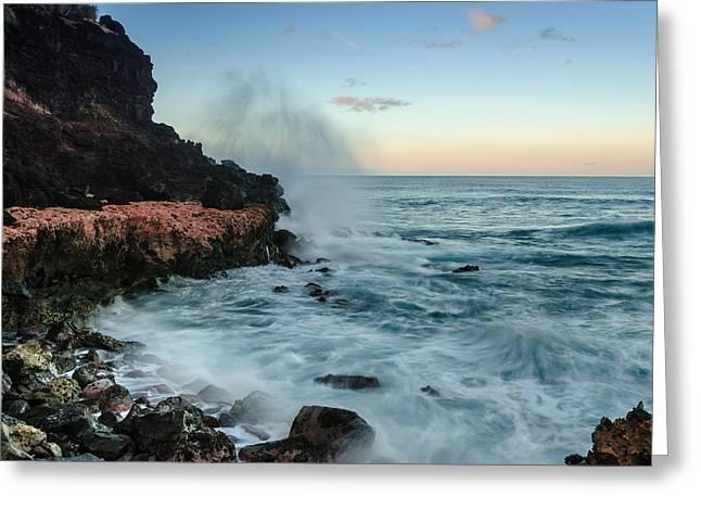 Greeting Card featuring the photograph Hawaiian Lava Rocks And Crashing Waves by RC Pics