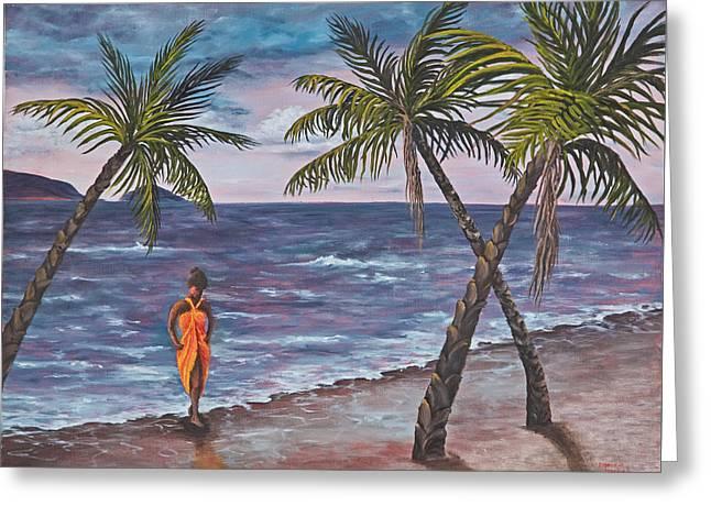 Hawaiian Maiden Greeting Card by Darice Machel McGuire
