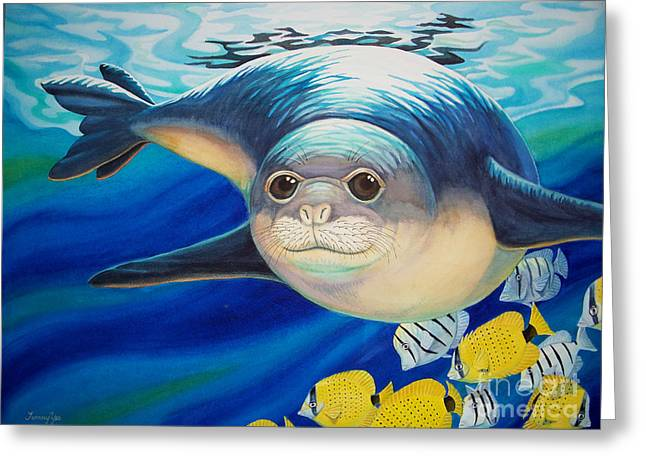 Hawaiian Monk Seal For Noaa Monk Seal Recovery Program Greeting Card by Tammy Yee