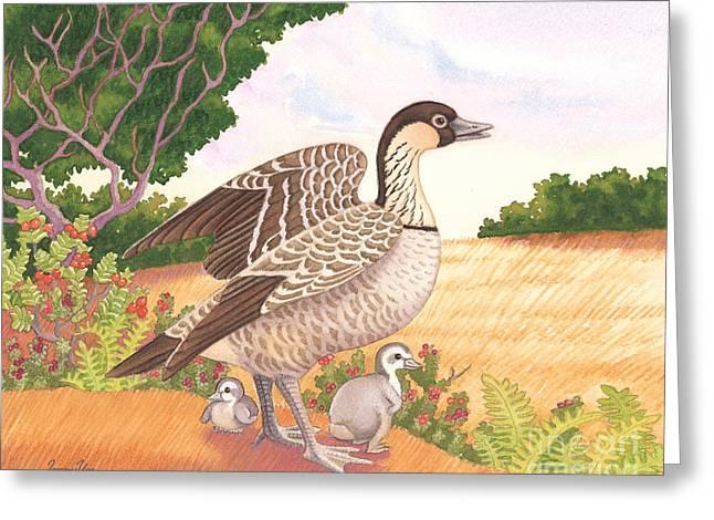 Hawaiian Nene Goose And Goslings Greeting Card by Tammy Yee