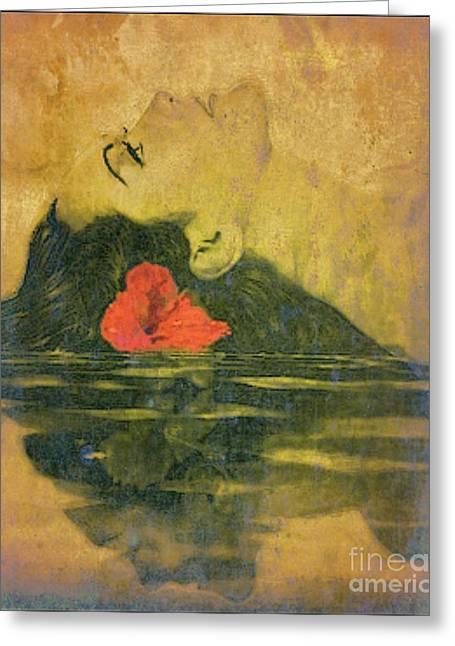 Hawaiian Reflection Wahine Kai Greeting Card by Laura  Gundy