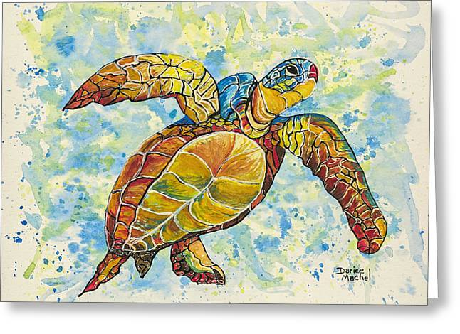 Greeting Card featuring the painting Hawaiian Sea Turtle 2 by Darice Machel McGuire