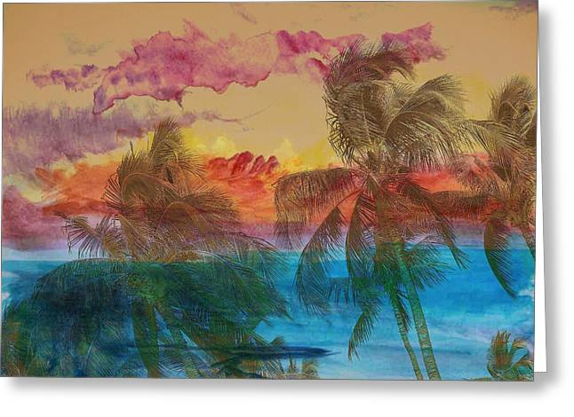 Hawaiian Sunset Greeting Card by Athala Carole Bruckner