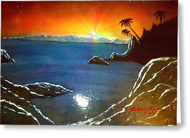 Greeting Card featuring the painting Hawaiian Sunset by Michael Rucker
