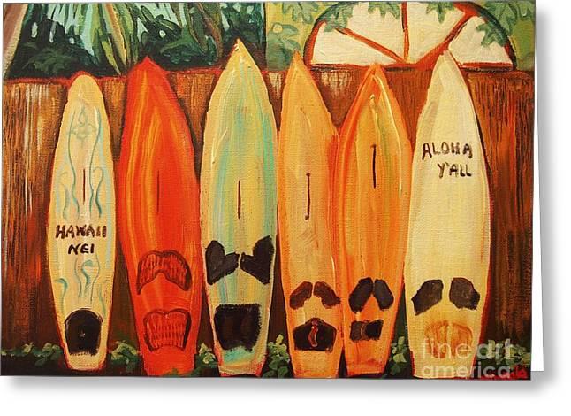 Hawaiian Surfboards Greeting Card by Janet McDonald