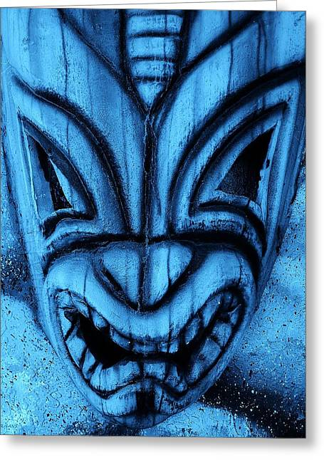 Hawaiian Turquoise Mask Greeting Card by Rob Hans